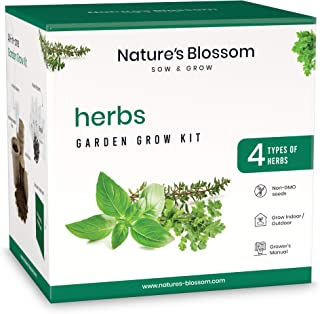 Nature's Blossom Kitchen Herb Garden Indoor Seed Starter Kit. Grow 4 Different Herbs from Organic Seeds at Home. Gardening Gifts for Kids and Adults.