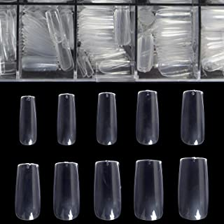 Clear Full Cover Nails - Fake Nails Square Shaped Acrylic Nails BTArtbox 500pcs False Nail Tips with Case for Nail Salons and DIY Nail Art, 10 Sizes