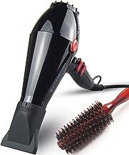 JOHN Ceramic Ionic 2200Watt Powerful Salon Use Blow Dryer Fast Drying Professional Hair Dryer with Boar Bristle Brush AC Motor 2 Concentrator Nozzles Blast Turbo 6900 Glossy Black