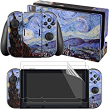 eXtremeRate Full Set Faceplate Skin Decal Stickers for Nintendo Switch with 2Pcs Screen Protector (Console & Joy-con & Dock & Grip) - The Starry Night