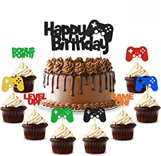 25 PCS Video Gaming Party Cake & Cupcake Toppers Gamer Party Supplies Video Game Party Supplies Game Fans Party Favors