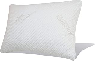 Snuggle-Pedic Original Ultra-Luxury Bamboo Shredded Memory Foam Combination Pillow - Best Breathable Kool-Flow Hypoallergenic Bed Pillow Outer Fabric Covering - Made in The USA - Queen (No Zippers)