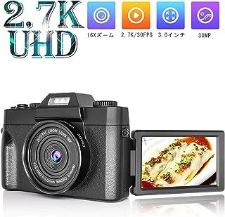 デジタルカメラ デジカメ ビデオカメラ カムコーダーHDMI 2.7K&30MP 16X 3.0インチスクリーン 充電しながら使用 フラッシュライト UVレンズフルHD YouTubeカメラ