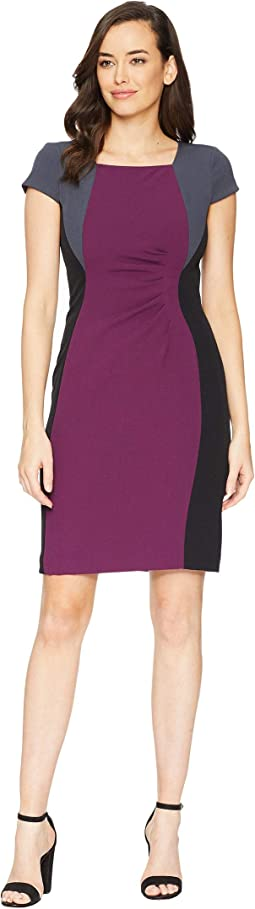 Cap Sleeve Color Blocked Dress with Side Ruching