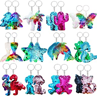 Danirora Sequin Keychains, [24 Pack]Mermaid Tail Keychains Animal Keychains for Kids Birthday Party Favors Supplies Goodie...