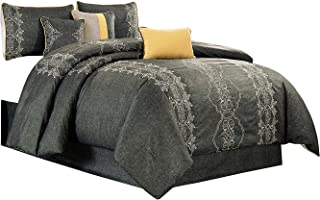 Audri 7pcs Luxury Queen Size Comforter, Enjoy The Beautiful Embroidered Design in Dark Gray and Silver with The Luxurious Comfort Feeling. Set Includes Comforter, Skirt, Throw Pillows, Pillow Shams