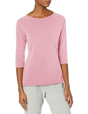 Hanes Camiseta de manga raglán para mujer, elástica, algodón