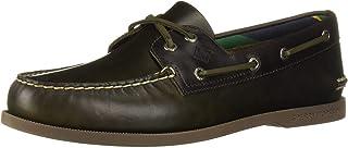 Sperry Men's A/O 2-Eye Plush Varsity Boat Shoe, olive/brown, 7 M US