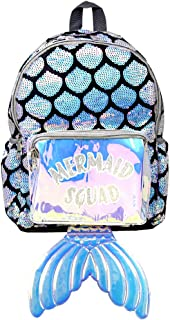 Women Teen Mermaid Squad Sequin Holographic Fashion Backpack (Sequin Squard-Mermaid)