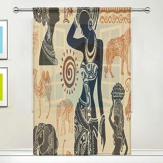 ISAOA Cortina de tul transparente, juego africano de cortinas para ventana de salón/dormitorio ventana hogar moda y decoración, panel único, 52 x 84 pulgadas