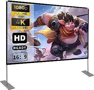 Projectiescherm met standaard, 100 inch HD 4K outdoor indoor projectorscherm, snel opvouwbaar, draagbaar filmscherm 16: 9 ...