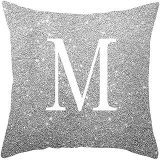 poli/éster con estampado de letra del abecedario coronada Funda para coj/ín rectangular Yibenwanligod 30cm x 50cm para la decoraci/ón de camas y sof/ás 1#