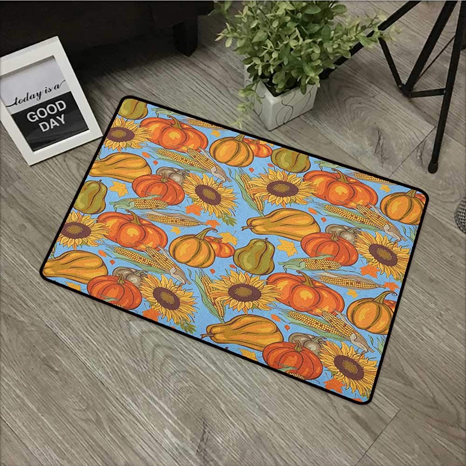 Door mat W35 x L59 INCH Harvest,Agriculture Theme Vegetable Pattern Corns Pumpkins and Sunflowers, orange Yellow Pale bluee Easy to Clean, Easy to fold,Non-Slip Door Mat Carpet