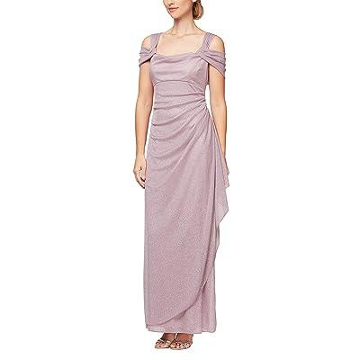 Alex Evenings Long Glitter Mesh Cold Shoulder Dress