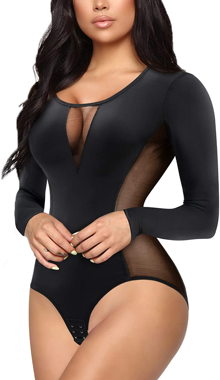 Eleady Women's Long Sleeves Bodysuit Tops Jumpsuit Bodycon Basic T-Shirt Leotard Tummy Control Waist Trainer