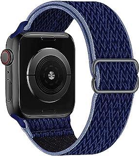 GBPOOT Solo Loop Kompatibel mit Apple Watch Armband, Nylon Sport Armband für IWatch Series 6/SE/5/4/3/2/1,Mitternachtsblau Schwarz,38/40mm