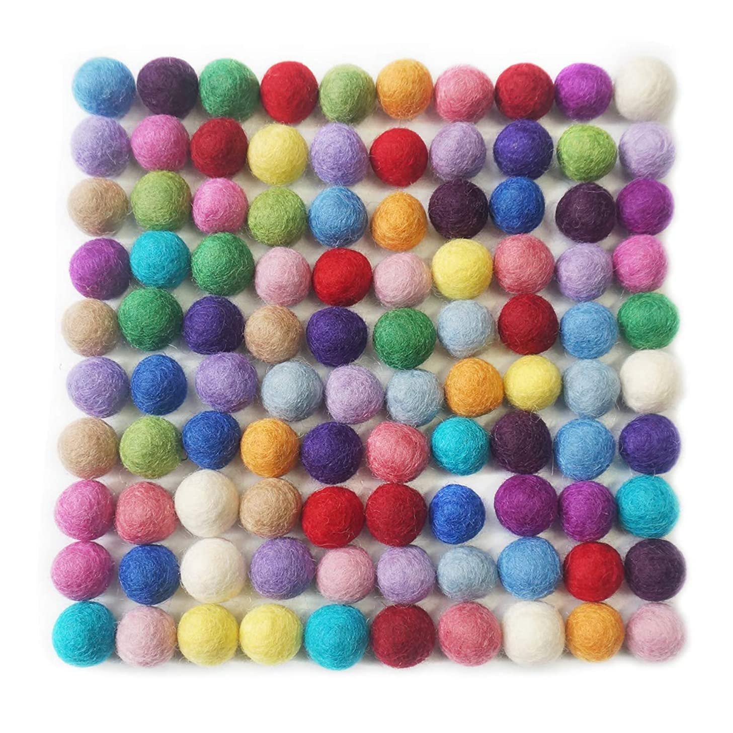 Misscrafts 100pcs 100% Wool Felt Balls Pure Wool Beads 20mm Hand-Felted Pom Poms for Party Festivals Room Decorations