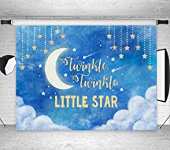Fanghui 7x5ft Moon Night Sky Twinkle Twinkle Little Star Photography Backdrop Toddlers Boy or Girl Birthday Party Background Banner Photo Booth Studio Props Decor