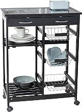 WENKO Wózek kuchenny Bon Appetit, z kółkami i szklanym blatem z motywem, idealny jako wózek do serwowania lub regał kuchen...