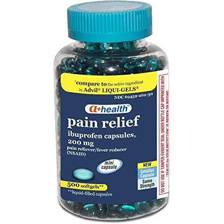 Amazon Com A Health Ibuprofen 200 Mg Mini Softgels Pain Reliever Fever Reducer Nsaid Made In Usa 500 Count Health Personal Care