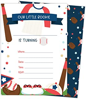 Baseball 2 Happy Birthday Invitations Invite Cards (25 Count) With Envelopes and Seal Stickers Vinyl Boys Kids Party (25ct)