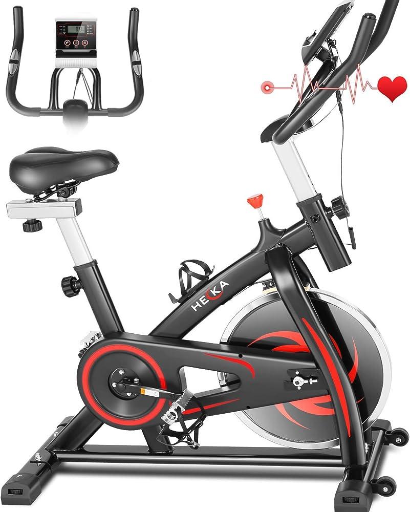 Heka, cyclette professionale, spinning bike, bici con resistenza regolabile con schermo lcd e cardio / app