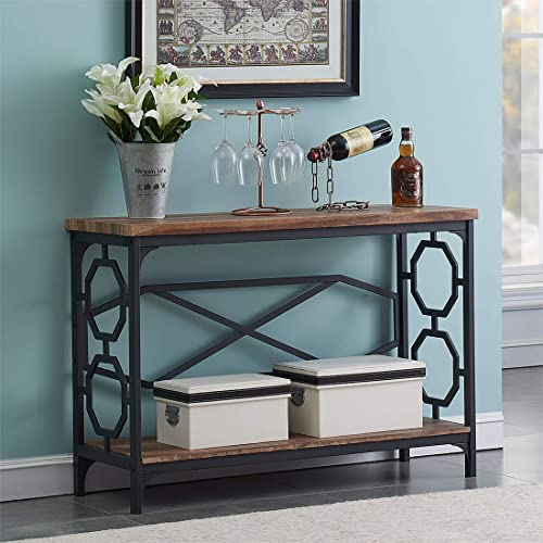 O&K Furniture Entryway Table with Storage Shelf, Rustic Narrow Sofa Console Table for Living Room, Hallway (Brown Fin...