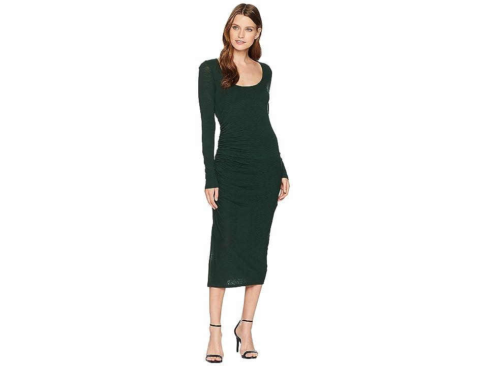 Three Dots Eco Knit Long Sleeve Shirred Dress (Deep Pine) Women