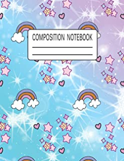Composition Notebook: Cute Unicorn Rainbow Wide Ruled Paper Notebook | Blank Lined Journal for Kids Students Girls and Boys
