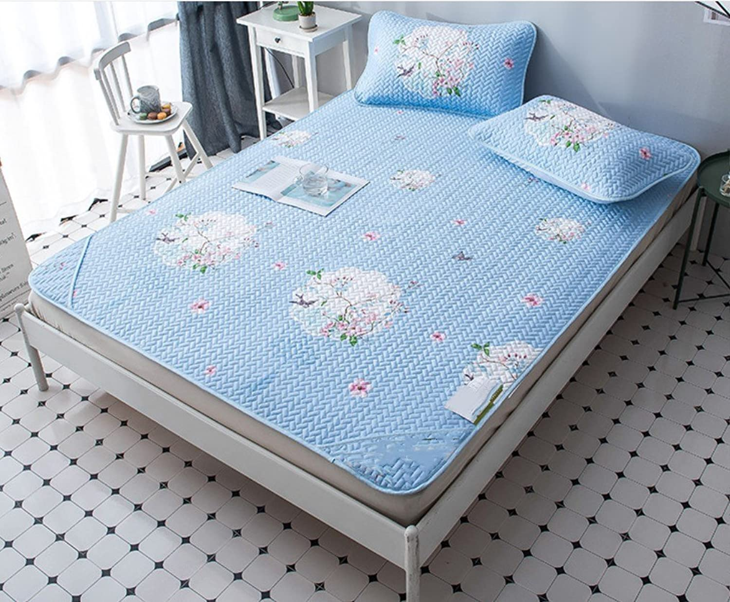 Washable Mat Tiansi Air Conditioning Soft Seat Summer 1.5 Meters Folding Mat Ice Silk Mat Three Sets ZXCV (color   bluee, Size   120  200 m)