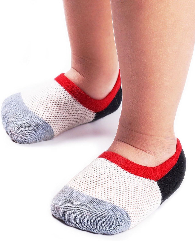 BabaMate 6 Pairs Baby Toddler Little Kids No Show Socks - Thin Mesh Cotton Athletic Socks for Boys Girls