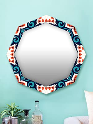 999Store Printed Classical Blue and White Octagon Mirror (MDF_17X17 Inch_Multi)