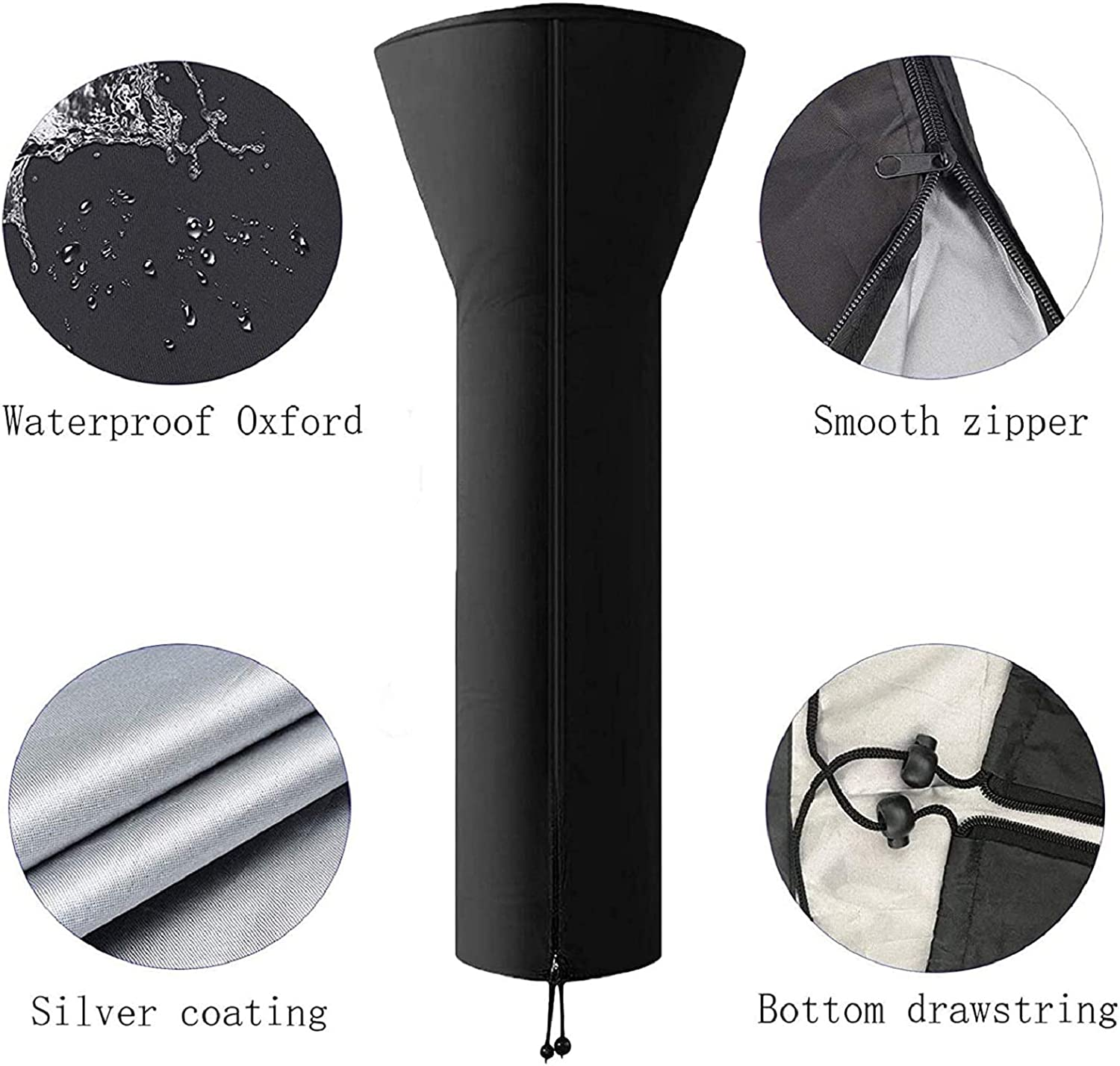 Kennifer Patio Heater Cover H89XD35x19 inch Waterproof Dustproof Snowproof Windproof with Zipper Outdoor Stand Up Storage Cover for Round Dome Heaters