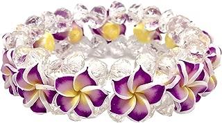 Zero Gravity Hawaii Hawaiian Purple Plumeria Flower Bead Elastic Bracelet
