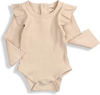 Baby Girls Ruffle Romper Solid Color Bodysuit Clothes