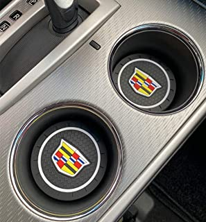 1.2 Pcs 2.75 inch Car Cup Holder Coaster for Cadillac Interior Accessories, Car Anti Slip Mat fit for Escalade, CTS, SRX, BLS, ATS, STS, XTS, SXT, etc All Models