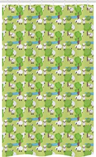 ABAKUHAUS Farm Animal Stall Shower Curtain, Nursery Cartoon with Sad Sheep in Forest with Trees and Pond, Fabric Bathroom ...