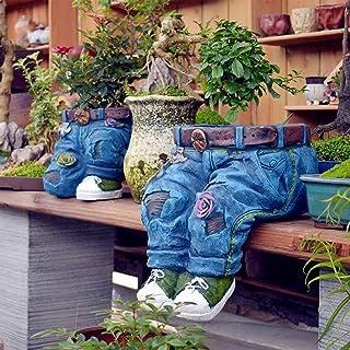 Denim Clothes Pants Resin Flower Pot - Creative Jeans Shape Resin DIY Flower Pots Ornaments, Flower Arrangement Containers...