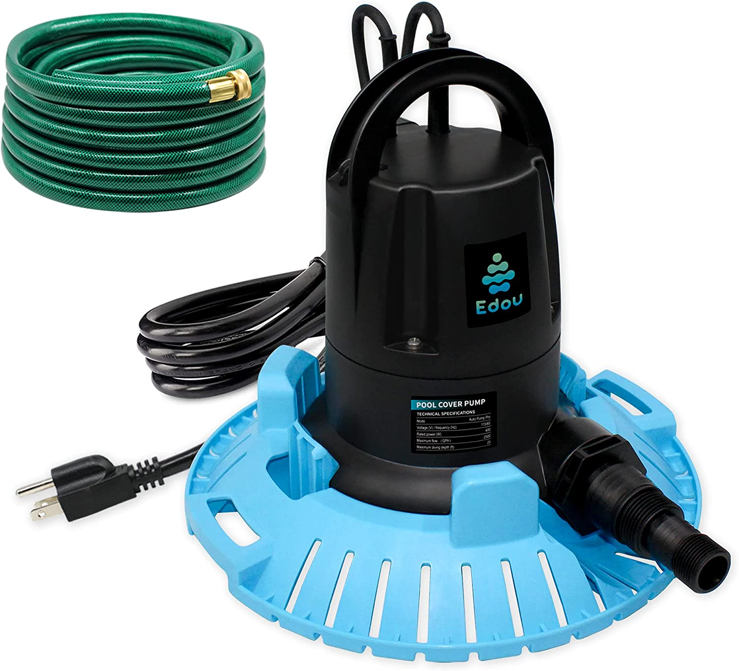 EDOU Automatic Swimming Pool Cover Pump Pro, 2500 GPH, 1/2 HP,110 V,Including an Adapter and 25 Ft 3/4