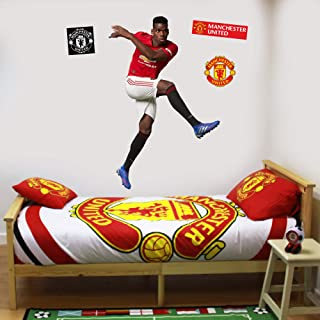 Beautiful Game Ltd Manchester United Football Club Official Paul Pogba Celebration Player Wall Sticker + Man Utd Logo Decals Vinyl Poster Print Mural Art (120cm Height)