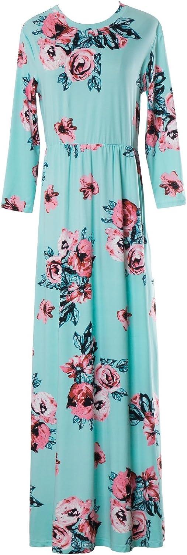 YIXIANGSI Women's Fashion Casual Loose Home Beach LongSleeved Printed Polar Soup Spoon Collar Dresses