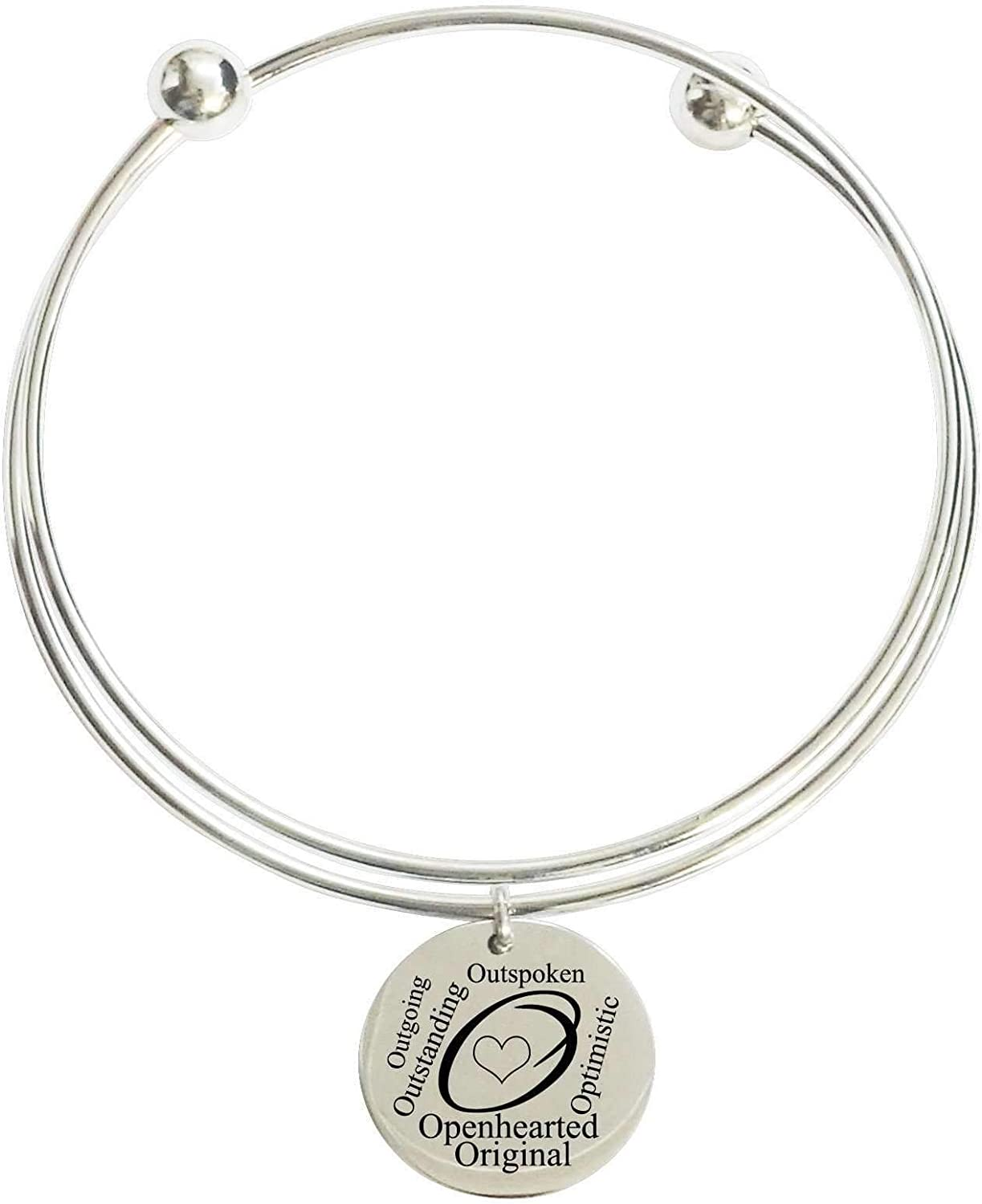Pink Box Initial Double Layer Bangle - O - Gold -