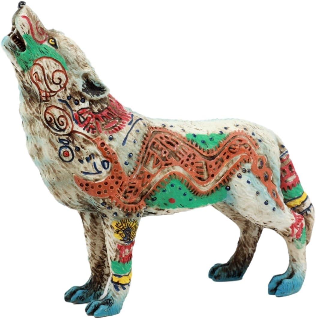 Ebros Gift Native Tribal Howling Wolf Totem Spirit Figurine Collection 6.25 L Aztec Nahuatl Anaconda
