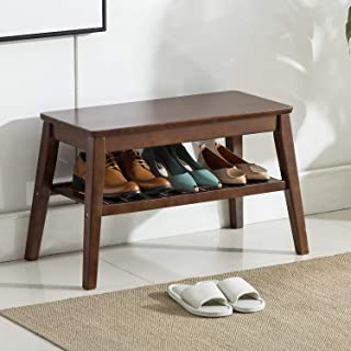 Shoes Rack Bench NNEWVANTE Free Standing Wearing Shoes Bench Storage Shelf Side End Table for Entryway Bathroom Living Room Pure Wood 25.6inch Walnut