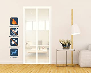 Liveinu Fiberglass Flame Retardant Magnetic Window Screen Mesh Anti Fly Mosquito Insect Curtain with Magnets for Window and Door Full Frame,No Drilling,Sticker Pin Install White 27