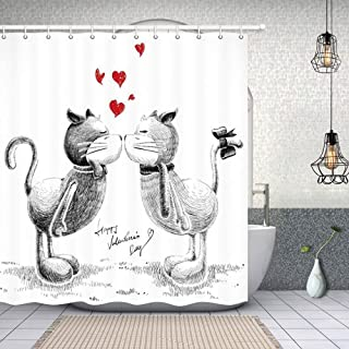 NYMB Love Decor Shower Curtains, Sketch Cats in Love for Happy Valentines Day Polyester Fabric Waterproof Animals Red Heart Bath Curtain, 69X70 in, Shower Curtain Hooks Included, Black White