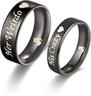 His or Hers Matching Set His Crazy Her Weirdo Titanium Stainless Steel Couple Ring