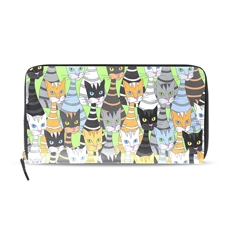 炎上赤ちゃん抑止するマキク(MAKIKU) 財布 レディース 長財布 猫柄 キャット 可愛い バカバカしい カラフル 革 大容量 ラウンドファスナー ウォレット PUレザー コインケース カード12枚収納 プレゼント対応