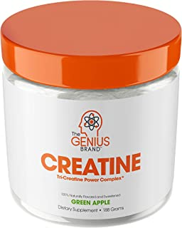 Genius Creatine Powder, Post Workout Supplement For Men and Women with Creapure Monohydrate, Hydrochloride Hcl MagnaPower and Carnosyn Beta-Alanine SR, Natural Lean Muscle Builder – Sour Apple, 188G