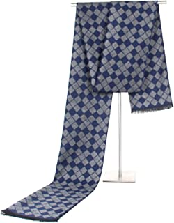 Scarf Imitation Cashmere Male and Female Business Classic Leisure Lattice Tassel Warm Weather Warm bib` TuanTuan (Color : Navy)